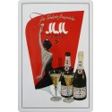 Plaque métal publicitaire 20x30cm bombée en relief : Champagne MM MM.