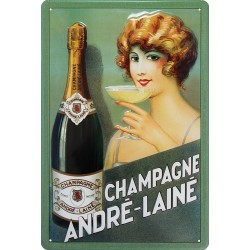 Plaque métal publicitaire 20x30cm  bombée en relief : Champagne André Lainé.