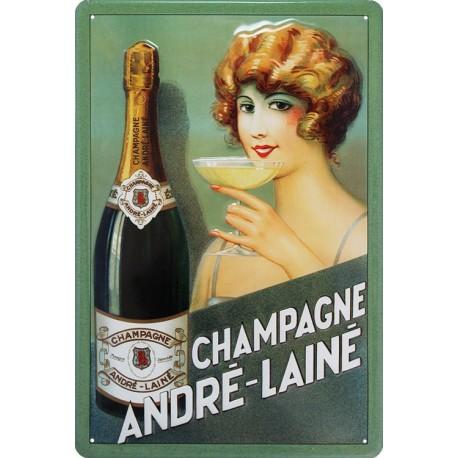 plaque publicitaire bombée en relief champagne Andre Laine