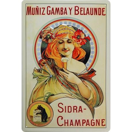 plaque publicitaire bombée en relief champagne Sidra