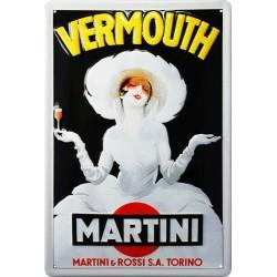 Plaque métal publicitaire 20x30 cm bombée en relief : Vermouth Martini