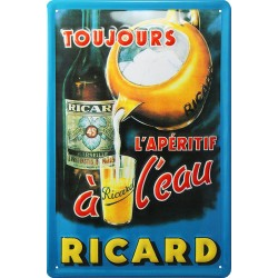 Plaque métal publicitaire 20x30cm bombée en relief : Apéritif RICARD