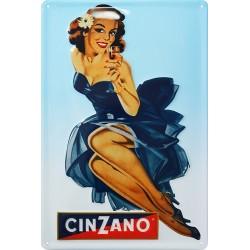 Plaque métal publicitaire 20x30cm bombée en relief : Cinzano apéritif