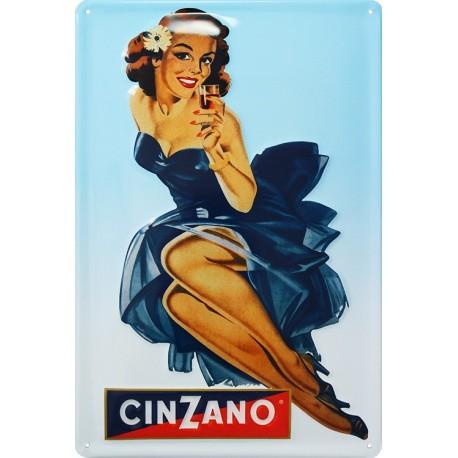plaque publicitaire 20x30cm bombée en relief Cinzano apéritif