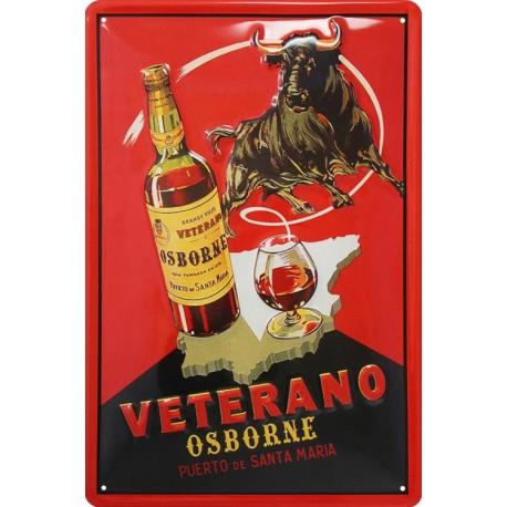 plaque publicitaire 20x30cm bombée en relief apéritif Veterano Osborne.