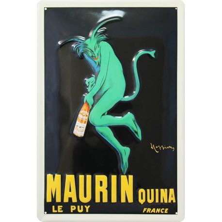 plaque publicitaire 20x30cm  bombée en relief apéritif quina Maurin, le Puy.