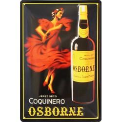 Plaque métal publicitaire 20x30cm bombée en relief: Apéritif Coquinero Osborne.