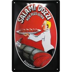 Plaque métal  publicitaire 20x30cm  bombée en relief : Salami Dozzi