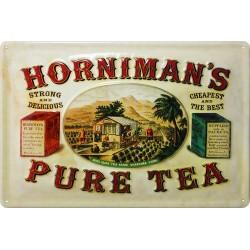 Plaque métal publicitaire 20x30cm  bombée en relief : Horniman's pure Tea.