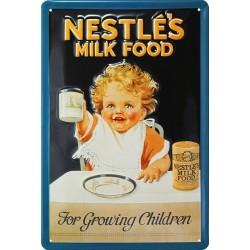 Plaque métal publicitaire 20x30cm bombée en relief : NESTLE'S MILK FOOD.