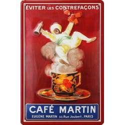 Plaque métal publicitaire 20x30cm bombée en relief : CAFÉ MARTIN.