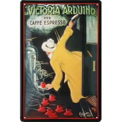 Plaque métal publicitaire 20x30cm bombée en relief : La Victoria, expresso.