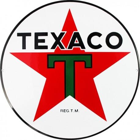 Plaque de rue signalitique émaillée plate TEXACO 1936 diam : 40 cm