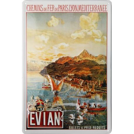 Pour votre Décoration cette plaque publicitaire 20x30 cm bombée en relief Evian