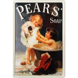 Plaque métal publicitaire 20x30cm bombée en relief : Pears Soap le bain.