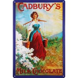 Plaque métal publicitaire 20x30cm bombée en relief : Cadbury's Milk Chocolate