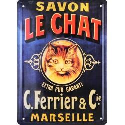 plaque métal publicitaire Savon le Chat 15 x 21 cm