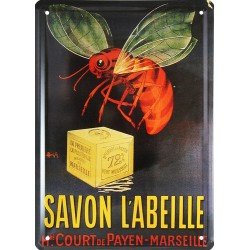 Plaque métal publicitaire 15x21cm plate : Savon l'Abeille.