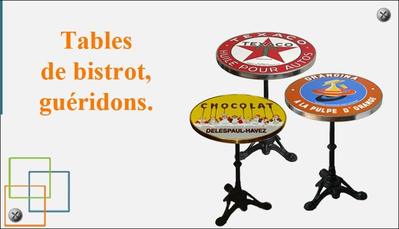 Tables de bistrot, guéridons